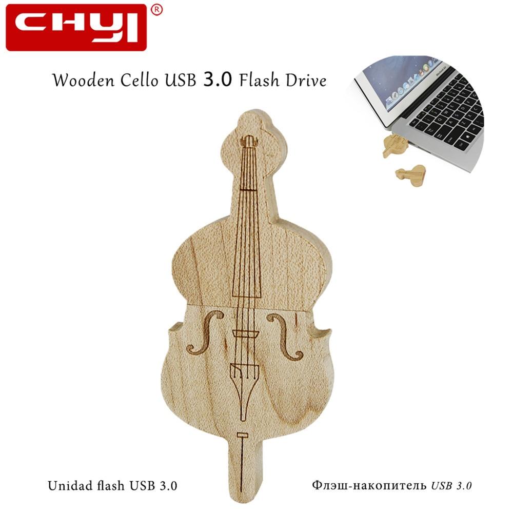 USB Flash Drive 64GB 32GB 16GB 8GB Pen Drive High Speed Wooden Cello Shape USB 3.0 Flash Memory USB Stick U Disk For PC Laptop