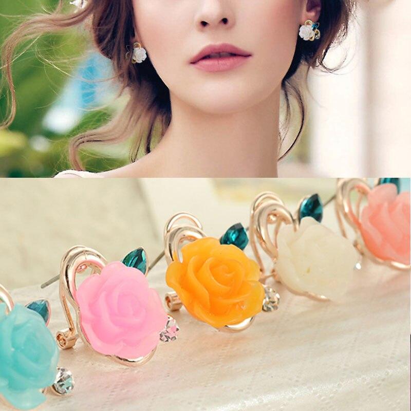 LNRRABC Sale 1 Pair Women Charming Resin Flower Ear Stud Rhinestones Earring Fashion Jewelry 6 Colors