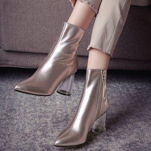 Image 5 - ALLBITEFO Transparent ferse starke ferse echtem leder spitz frauen stiefel high heels knöchel stiefel mädchen stiefel bota de neve