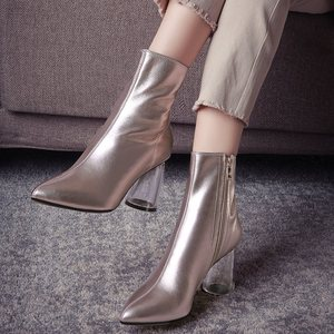 Image 5 - ALLBITEFO Transparent heel thick heel genuine leather pointed toe women boots high heels ankle boots girls boots bota de neve