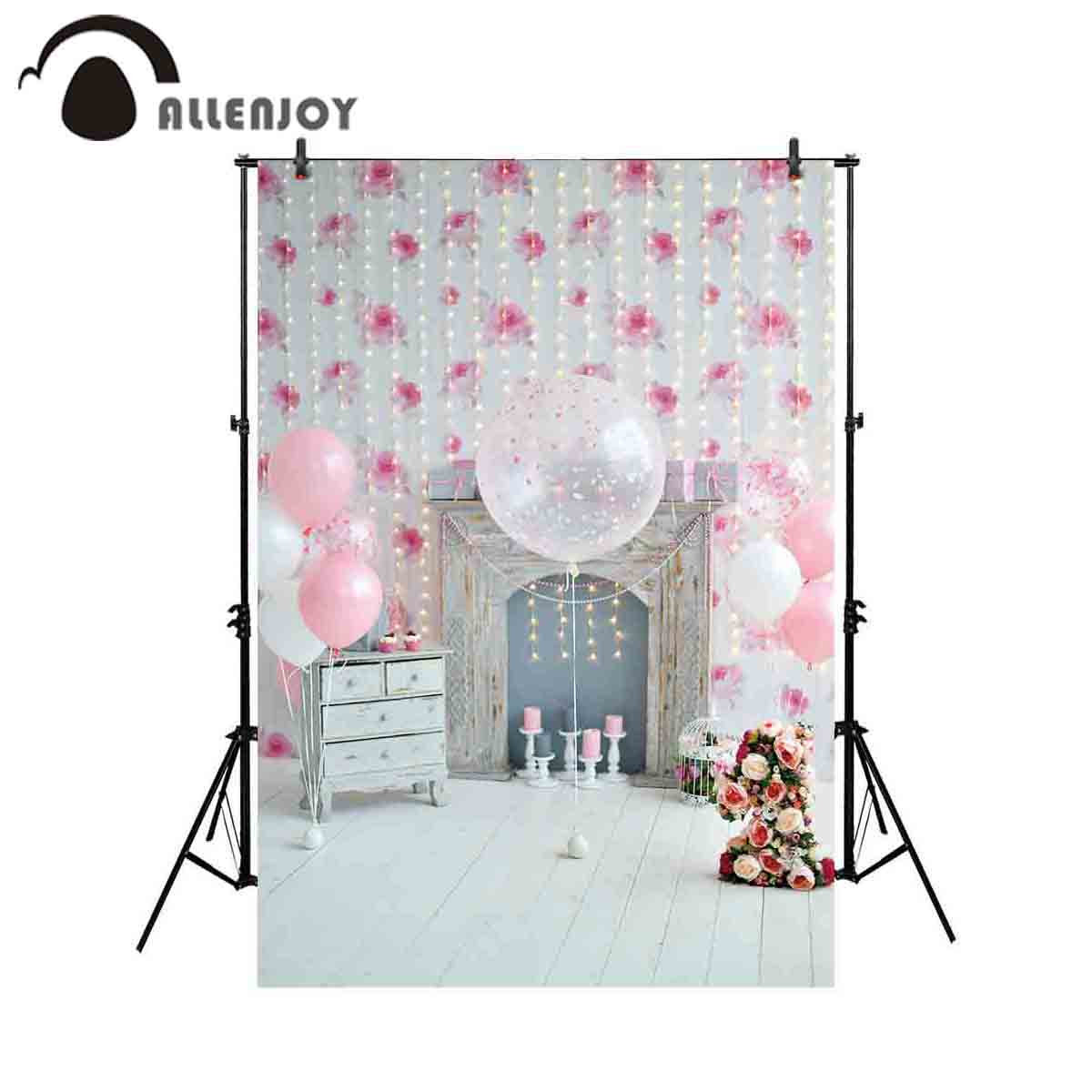 Allenjoy Photography Backdrop Cake Smash Balloon Pink Girl 1st Birthday Background Photocall Photoshoot Studio Photobooth