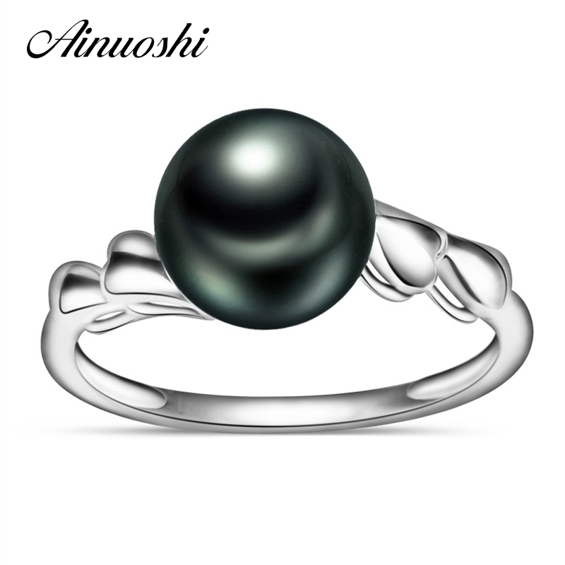 AINUOSHI AAAA bague perle de culture de tahiti 10mm ronde paon vert perle de tahiti bijoux 925 argent Sterling femmes bagues cadeau