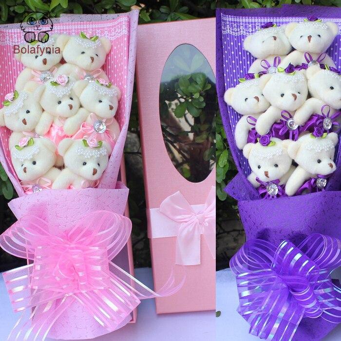 BOLAFYNIA Little bear teddy bear cartoon plush toy bouquet for birthday valentine gift stuffed toy