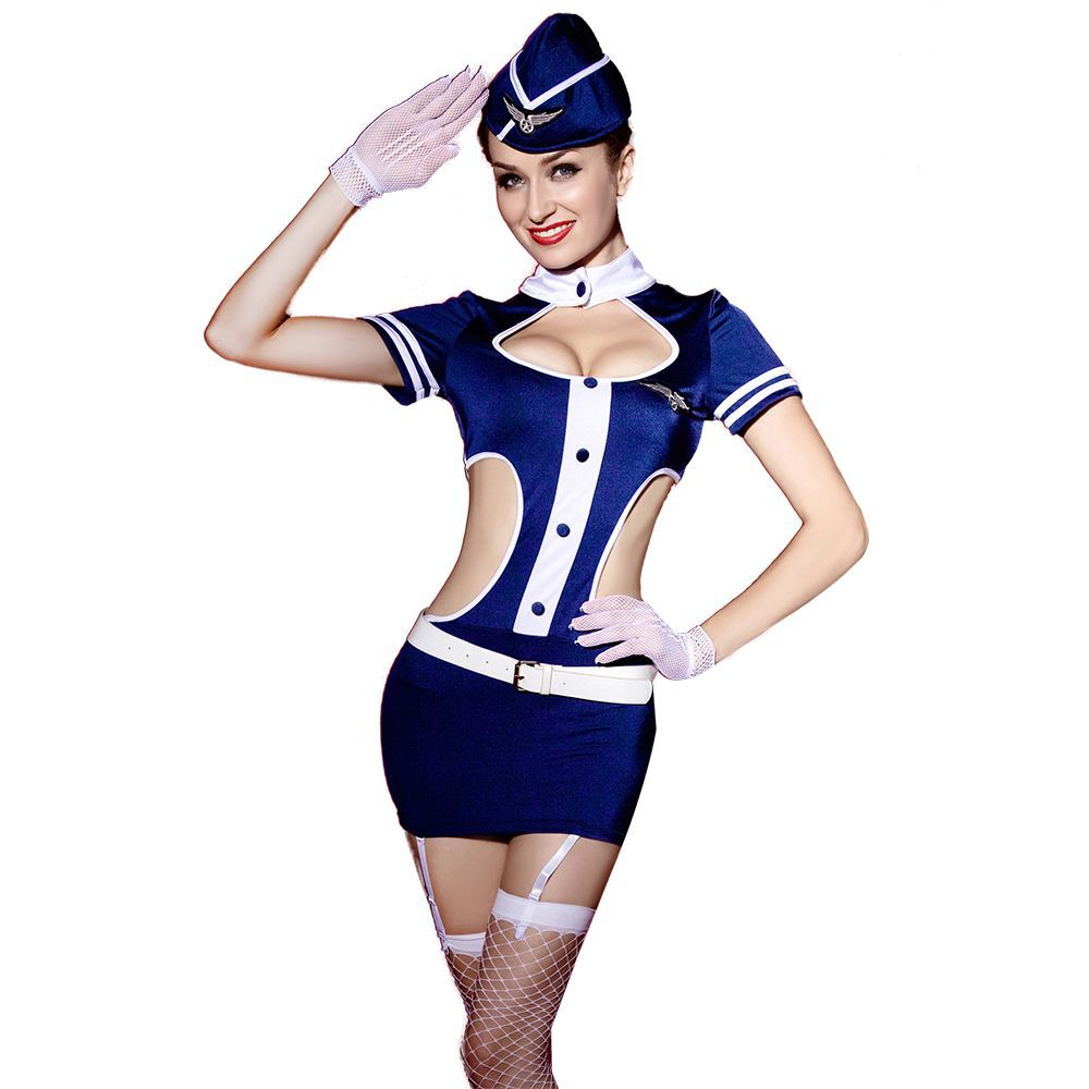 MQFORU New Women Airline Waitress Costume Sexy Stewardess Uniform Halloween Party Cosplay Flight Attendant Outfit image