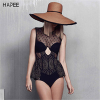2017 Black White Mesh High Neck Halter PEPLUM One Piece Swimsuit Push Up Swim Wear Swimming