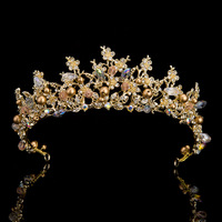 New Handmade Glass Crystal Jewelry Gold Plated Bridal Tiara Baroque Crown Wedding Accessories Bride Headwear Princess