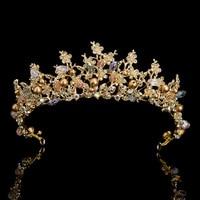 New Handmade Glass Crystal Jewelry Gold Plated Bridal Tiara Baroque Crown Wedding Accessories Bride Headwear Princess