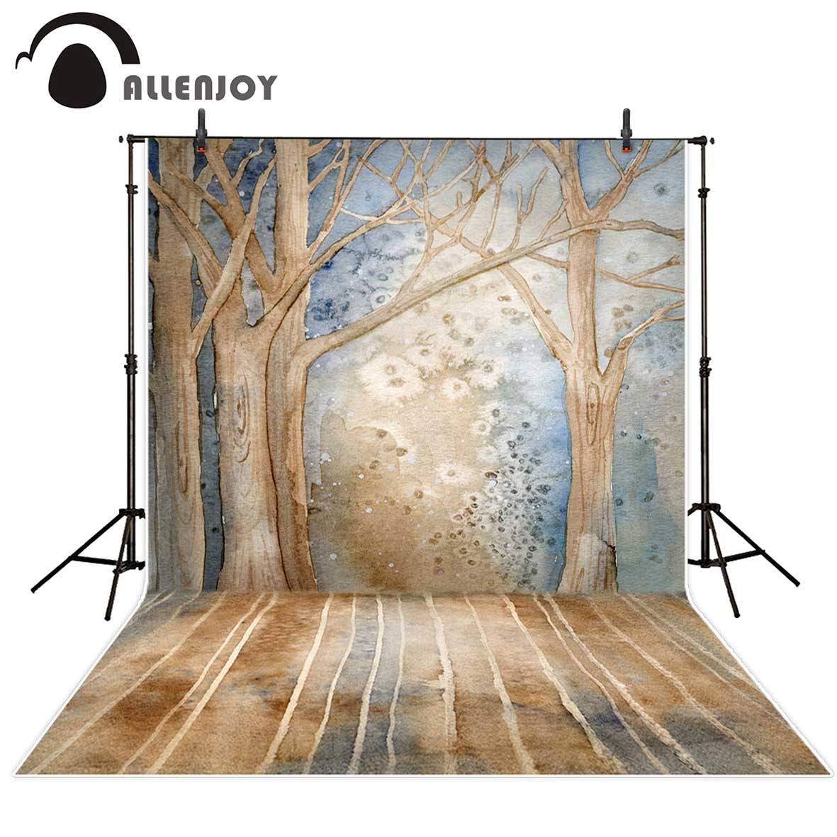 Allenjoy photography background Vintage trees winter snow oil painting style backdrop Photo background studio camera fotografica