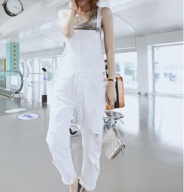 b7fb3ddb5d 2015 New Plus Size Blue White Womens Ripped Jumpsuit Denim Overalls Casual  Skinny Girls Pants Jeans White Blue S M L XL