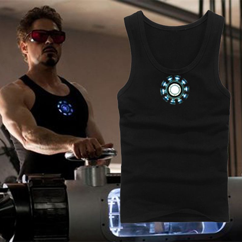 Mens Vest for Iron Man Tony Stark Cosplay Luminous Vest   Tank     Tops   Shirt Costume