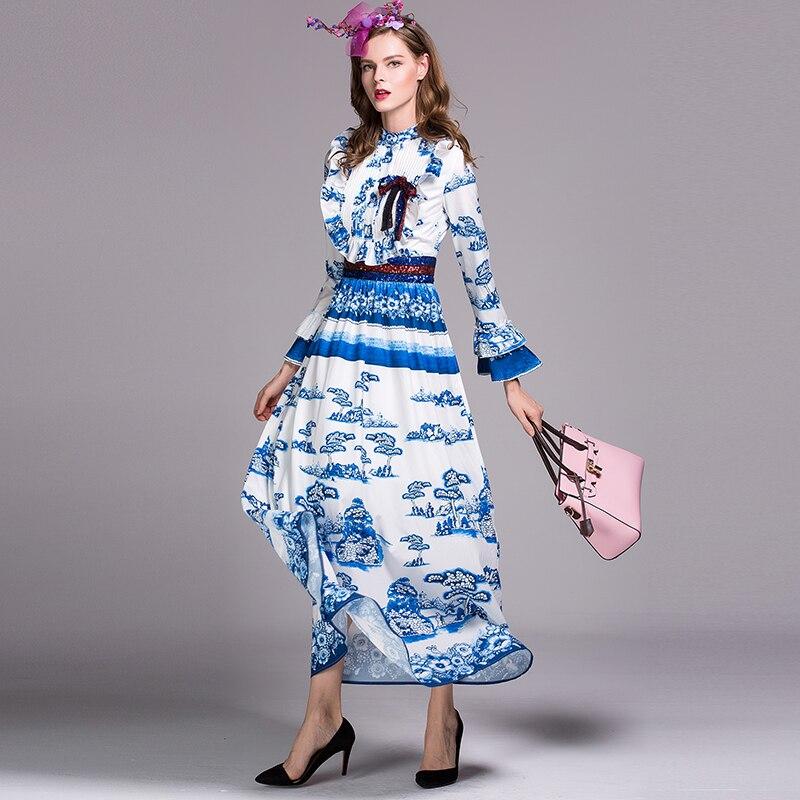 Donne Paillettes Estate Bianco Chiarore Di Modo Delle Classico Maxi Alta E  Con Lungo Manicotto Qualità Size Abito Cinese Plus Stile Blu Porcellana Del  ... 34c5e161c14