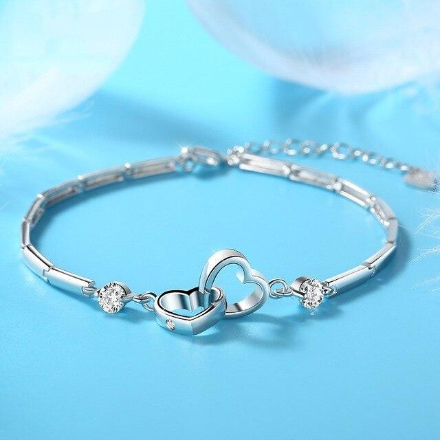 Charms 925 sterling silver Bracelets Bangles for Women Valentine's Days Gift Cubic Zircon Double Heart Bracelet Jewelry