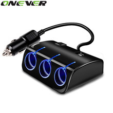 Onever 1 Piece Dual USB Ports And Three Cigarette Lighter Charger 12v Car Cigar Lighter Three Socket Car Charger With Switch(China)