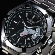 2016 Top Marca de Moda Vestido de Los Hombres Relojes de Acero Taquímetro Fecha Auto Mecánico Automático Reloj Masculino Banda de Acero Completo