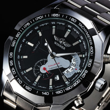 2016 WINNER Top Fashion Brand Automatic Mechanical Men Dress Steel Watches Tachymeter Auto Date Full Steel Band Male Wristwatch
