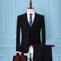 2018 men's suits, cultivate one's morality Black clothing dress smock groom wedding dress Two (coat and pants)