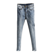 цены на Korean New Spring Summer Women Fashion Jeans Casual Ripped Hole Denim Pants Woman Skinny Trousers Elastic Pencil Pants  в интернет-магазинах