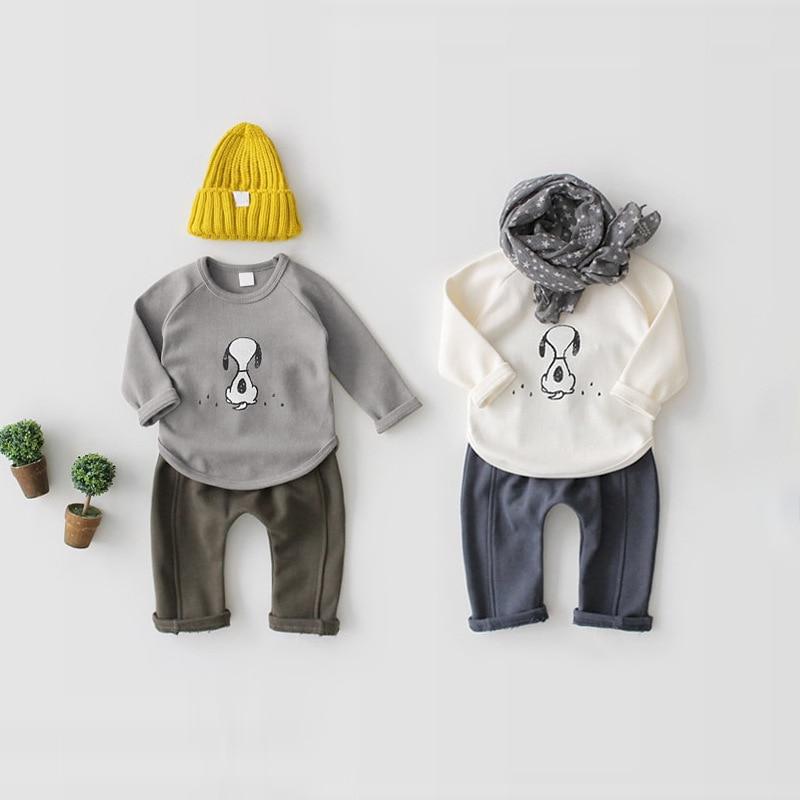 2018 весенние детские футболки с милым рисунком Обувь для мальчиков футболка с длинными рукавами для маленьких Топы для девочек рукав реглан ...