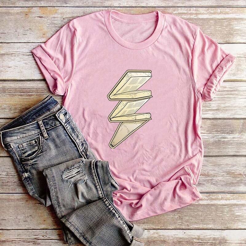 8colors Summer Creative 3D Book Lightning Print T-Shirt For Women Casual Tops Women T Shirt Love To Learn Reading Girls T-Shirts