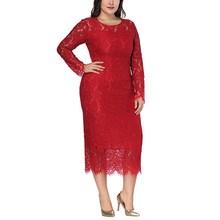 Hot Sale 2019 Summer Women Hollow Out Lace Solid Pencil Dress Plus Size Fashion Long Sleeve Elegant Dress O-Neck Party Dresses