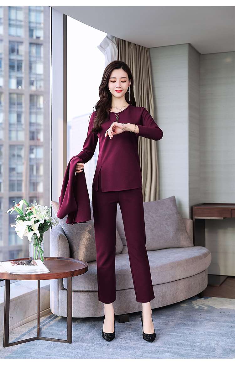 Spring Autumn 3 Piece Set Women Long Coat T-shirt And Pants Sets Casual Elegant Three Piece Sets Suits Women's Costumes 62