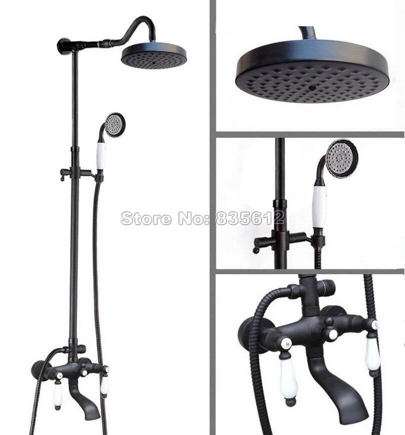 7.7 inch Shower Head Rain Shower Faucet Set W / Classic Black Oil Rubbed Bronze Bathroom Wall Mounted Bath Tub Mixer Tap Whg648