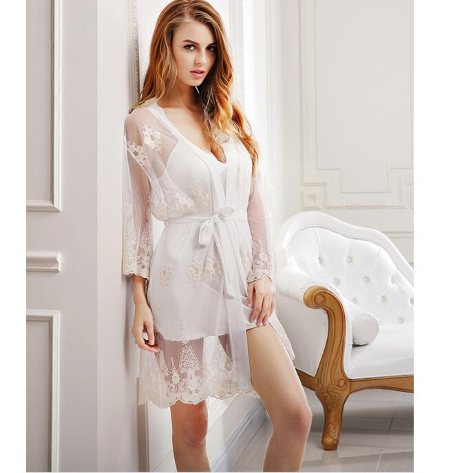 2018 Night Dress Women Spaghetti Strap Sleepwear V-Neck Lace Embroidery Nightgrown Robes ...