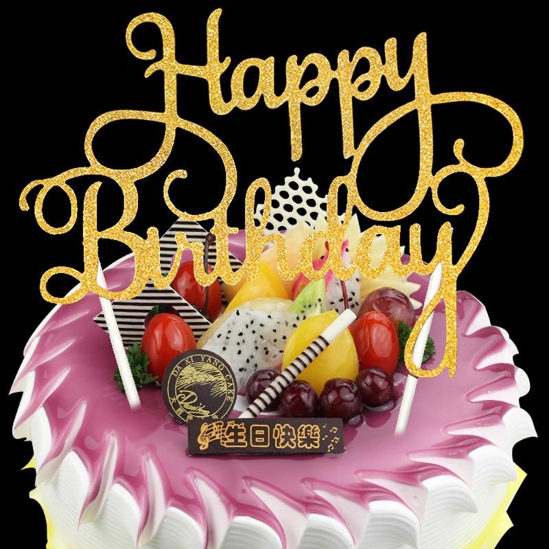 Hot Sale 1 pcs glitter Happy Birthday cake topper birthday cake ...