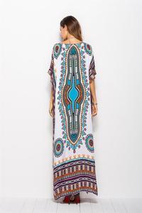 Image 3 - Dubai Maxi Kaftan kadın moda müslüman elbise baskı Vintage kadın plaj yaz Robe büyük boy Arabes çarşaf İslami giyim
