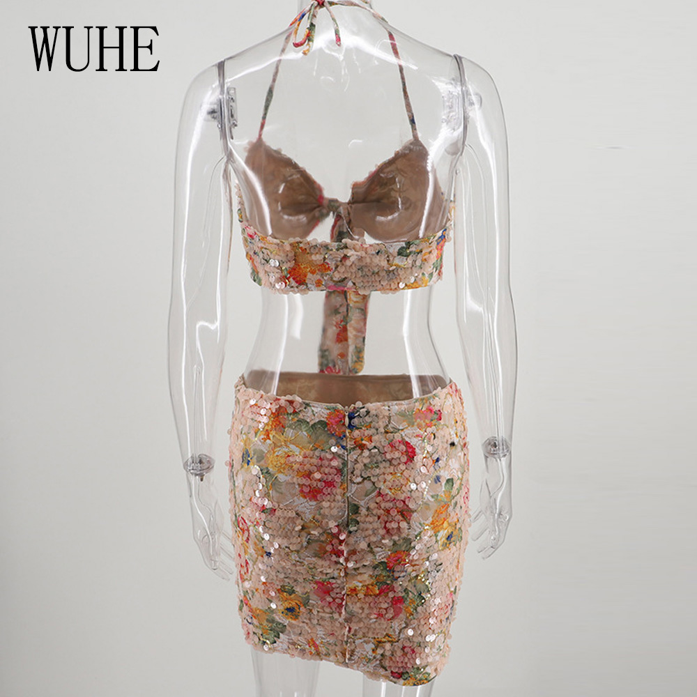 WUHE Two Pieces Sets Sexy Spaghetti Strap Halter Slim Dress Fashion Hollow Out Off Shoulder Sequined Fringe Floral Luxury Dress in Dresses from Women 39 s Clothing
