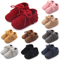 New Spring Autumn Solid Leather Fringe Baby Shoes Leather Sole Boy Girl Lace-up Moccasins Shoes 0-15 Months