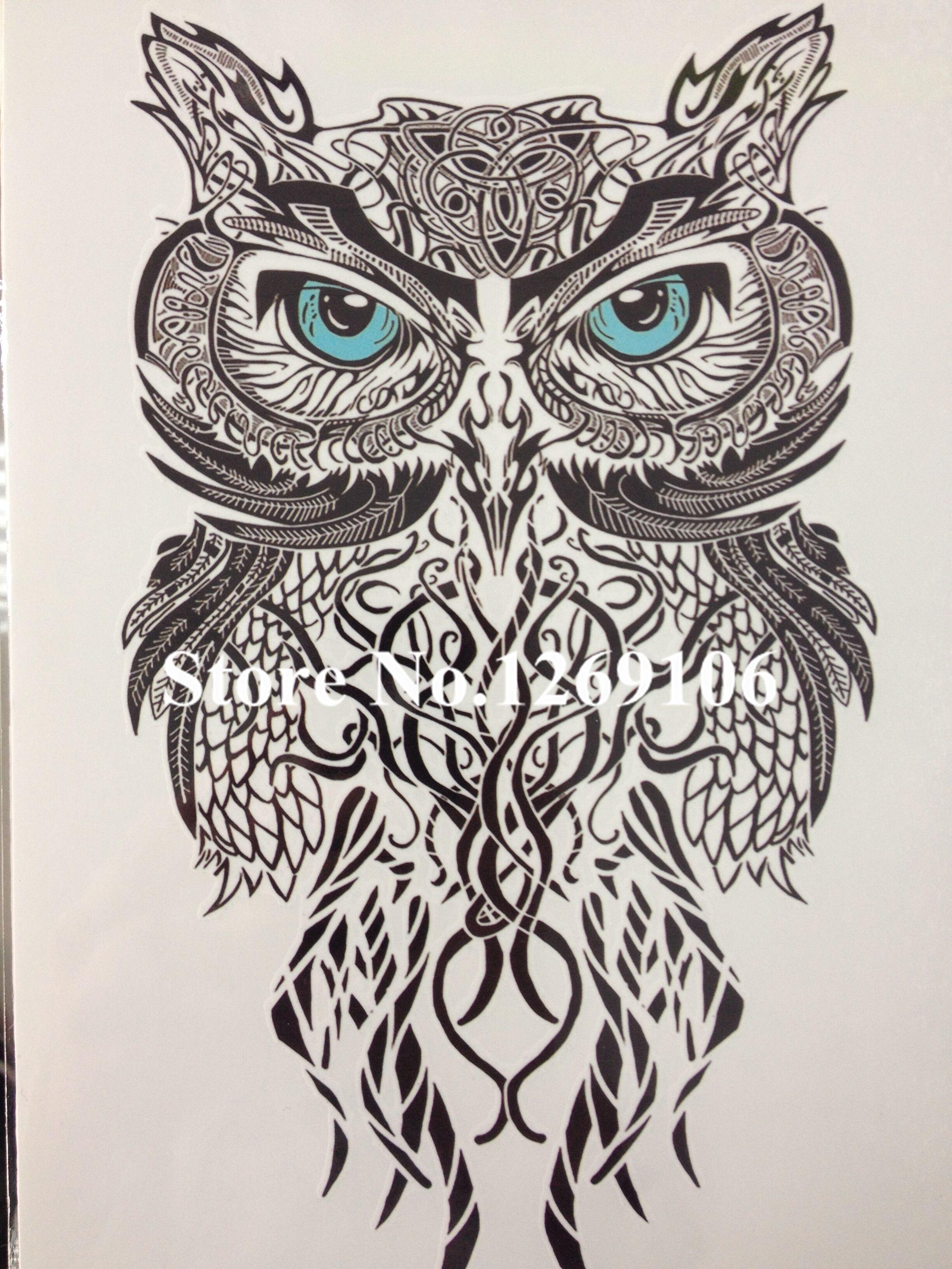 Simple Blue Eye OWL Hot Sale 21 X 15 CM Temporary Tattoo Stickers Temporary Body Art  Waterproof #58
