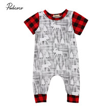 Pudcoco 2017 Christmas Newborn Baby Romper Deer Print Plaid Jumpsuit Autumn Short Sleeve One-Piece Toddler Boys Girls Clothes(China)