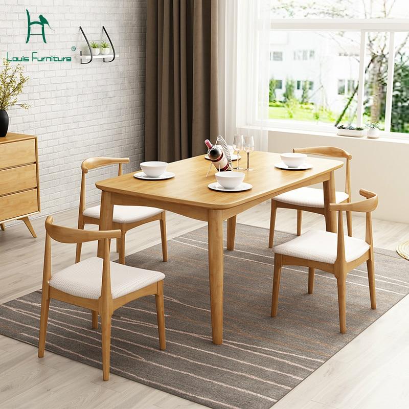 Simple Minimalist Dining Set: Louis Fashion Dining Tables Modern Solid Wood Minimalist