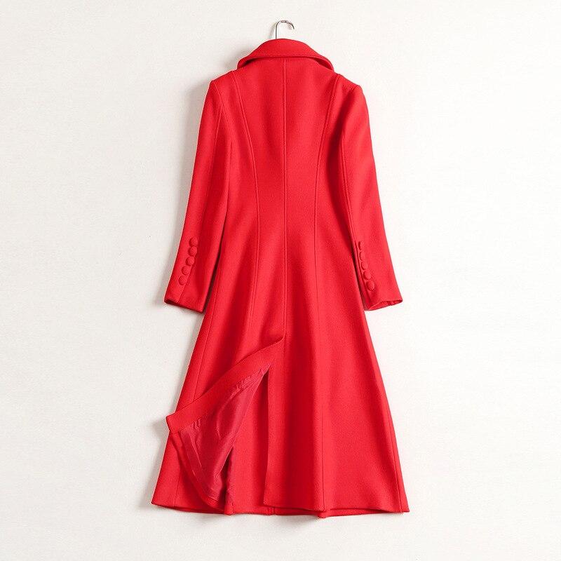 ACRMRAC Mulheres mangas Compridas Longa seção Magro vermelho Único Breasted Misturas De Lã casaco De Lã casaco - 4