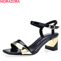 MORAZORA 2018 Summer Hot Fashion Women Shoes Genuine Leather High Heels Square Heel With Buckle Mixed