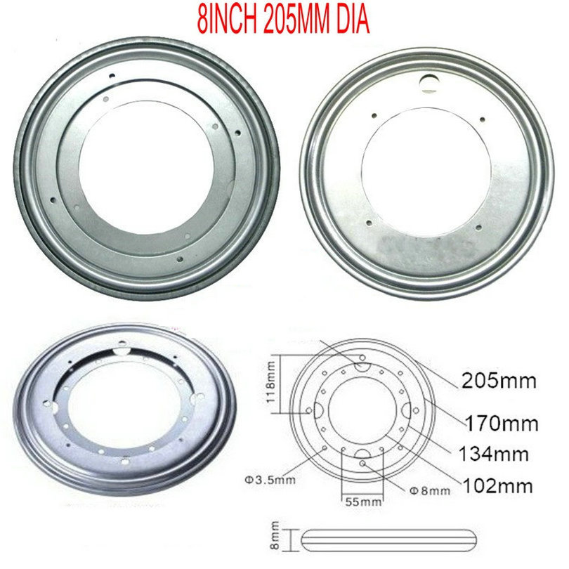 8INCH (200MM) Round Shape Galvanized Lazy Susan Turntable Bearing Rotating Swivel Plate For Kitchen Cabinets Tabe Swivel Plate hq hr 12inch 300mm full ball bearing swivel plate lazy susan turntable tv rack desk tool 360 degree furniture swivel stand