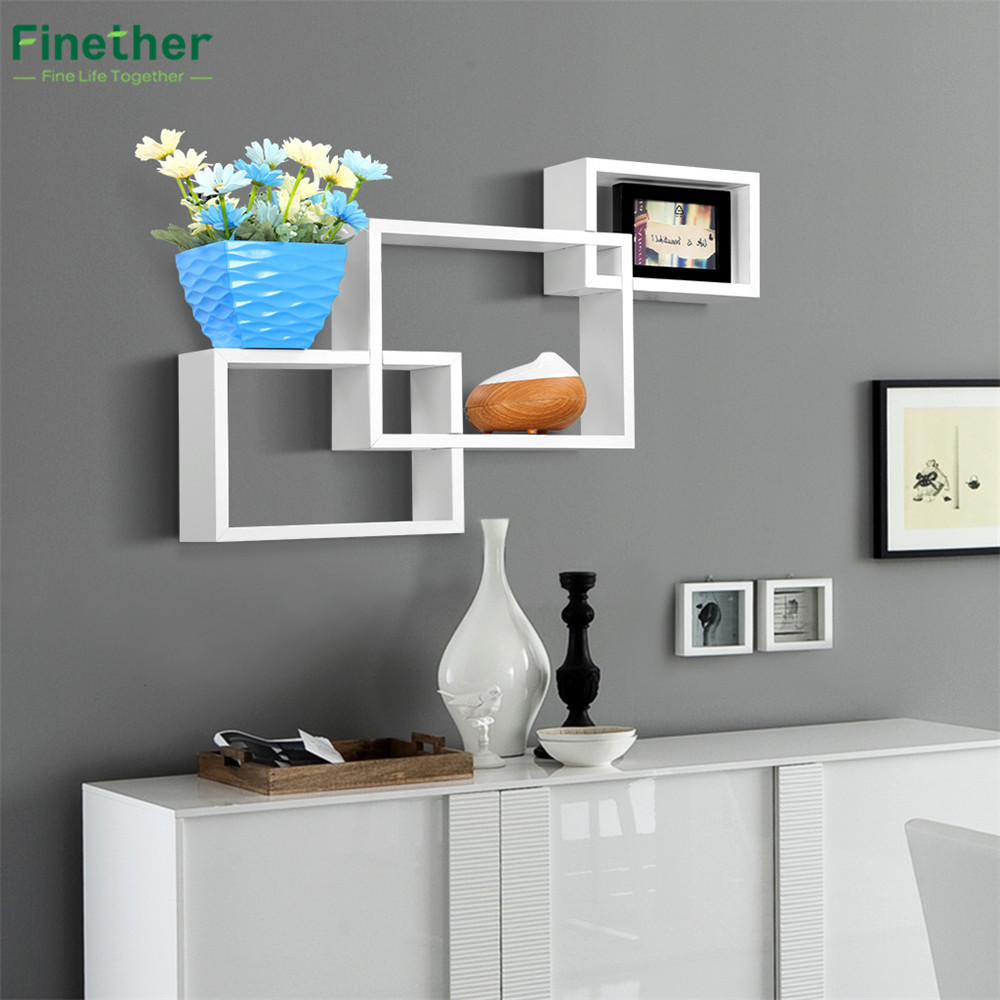 finether wall mount bookshelf wall shelf dvd shelf rack. Black Bedroom Furniture Sets. Home Design Ideas