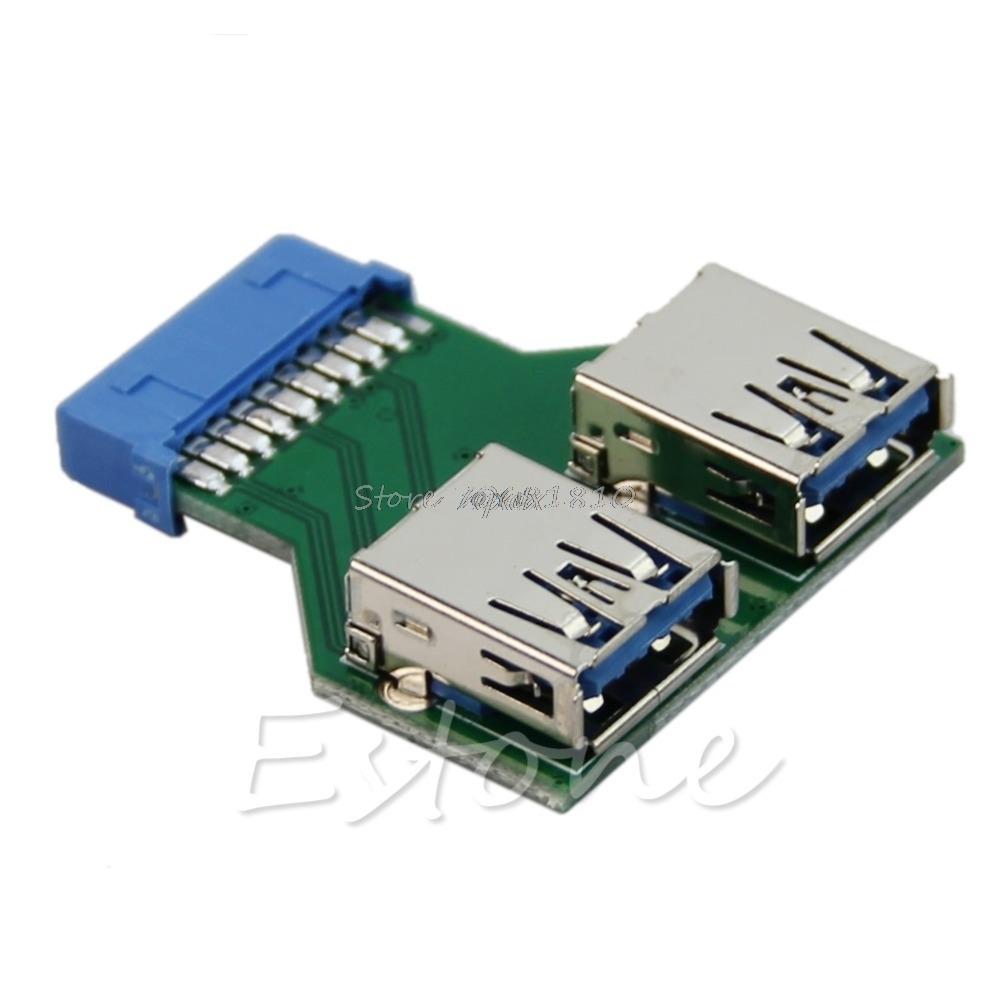 Internal Mainboard 2 Ports USB 3.0 Female To 20 Pin Female Header Z09 Drop Ship