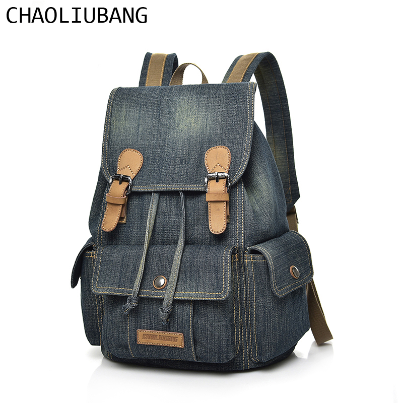 Men & Women High Quality Backpack SchooL Bag Denim Retro Casual Ladies Travel Shoulder Bags Men Rucksack Male mochila bolsas цена