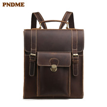 NDME simple crazy horse leather men's women's backpack vintage handmade daily high quality genuine leather lady hasp schoolbag