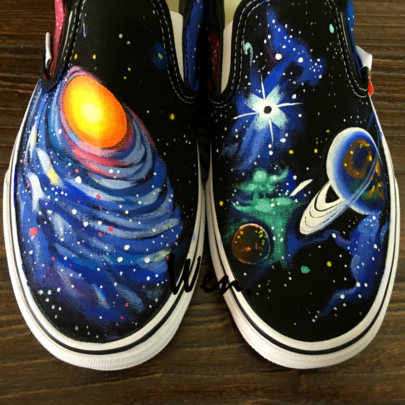 Wen Black Hand Painted Shoes Original Design Custom Galaxy Space Planet Men Womens Slip On Canvas Sneakers for Christmas Gifts