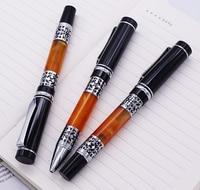 3PCS Set Yiren Celluloid Fountain Pen Roller Pen and Ballpoint Pen Beautiful Silver Flower Pattern for Business Office School