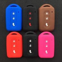 ZAD chiave dellautomobile Del Silicone di caso della protezione della copertura fob tasca del sacchetto della pelle set per Nissan Juke Duke Micra Xtrail Qashqai 3 bottoni di madreperla chiave