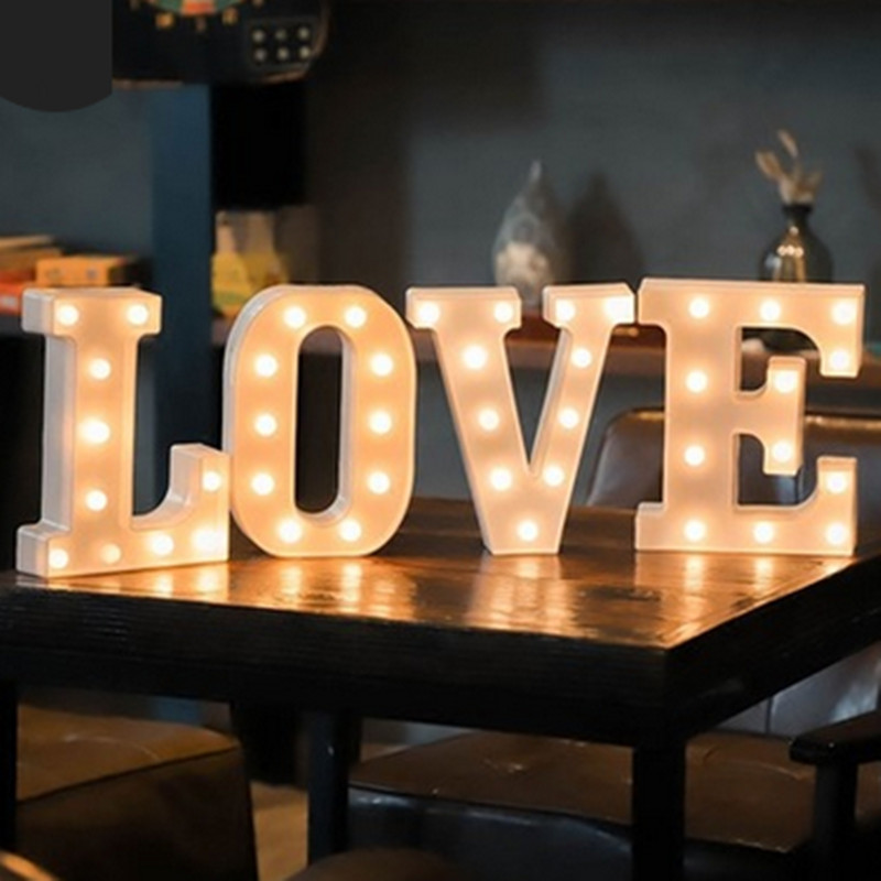 Battery Powered 22CM 3D 26 White Letter LED Marquee Sign Alphabet Light Wall Hanging Night Light Bedroom Wedding Birthday Decor