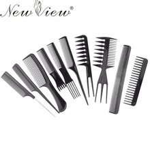 10pcs/set Hairdressing Comb Professional Hair Cutting Comb Set Tail Comb Black For Barber Hairdresser Styling Tools Salon
