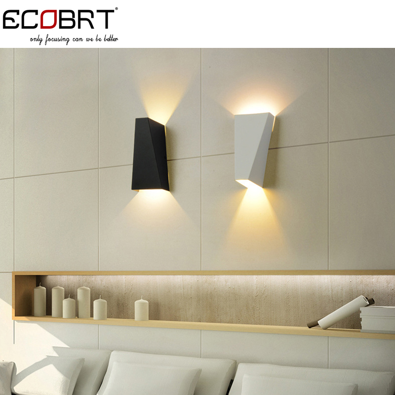 Indoor Brief Style LED Wall Lamps Modern Square Bedroom Up and Down Wall Lights Black / White ...