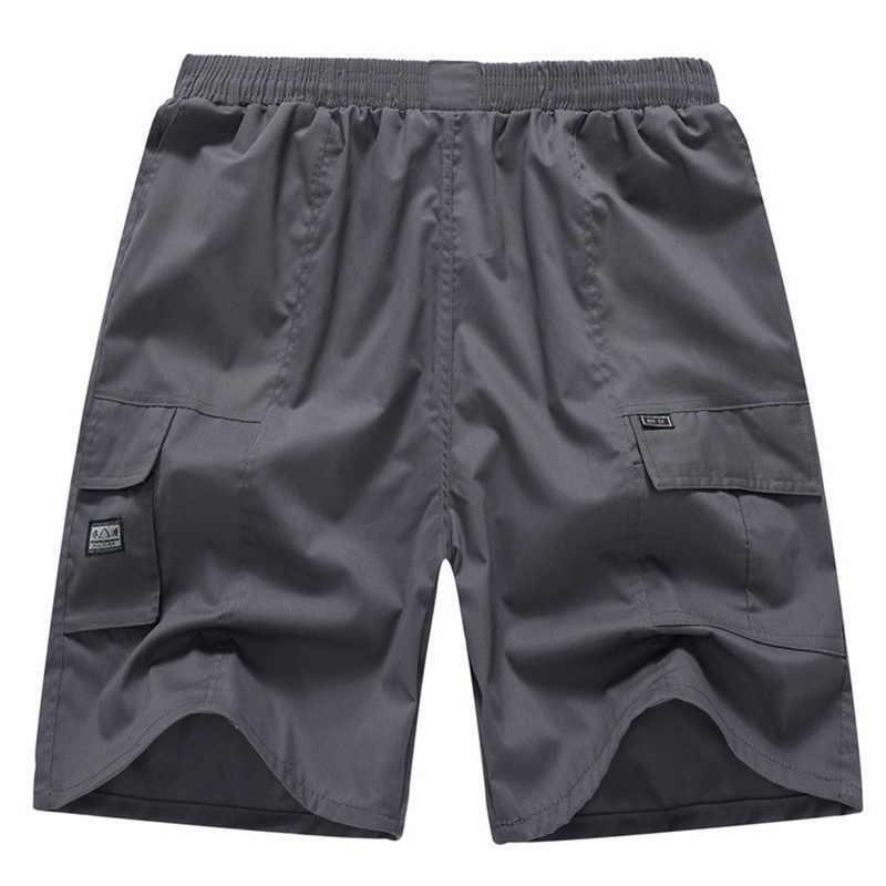 シュージン 2019 プラスサイズのショートパンツ男性夏のファッション固体弾性ウエスト男性ショーツオムカジュアルポケットビーチルーズショートパンツ