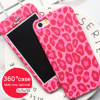 QBQB Cases For 360 Case Iphone5s Case PC Hard Full Cover Camouflage Leopard Original Print For