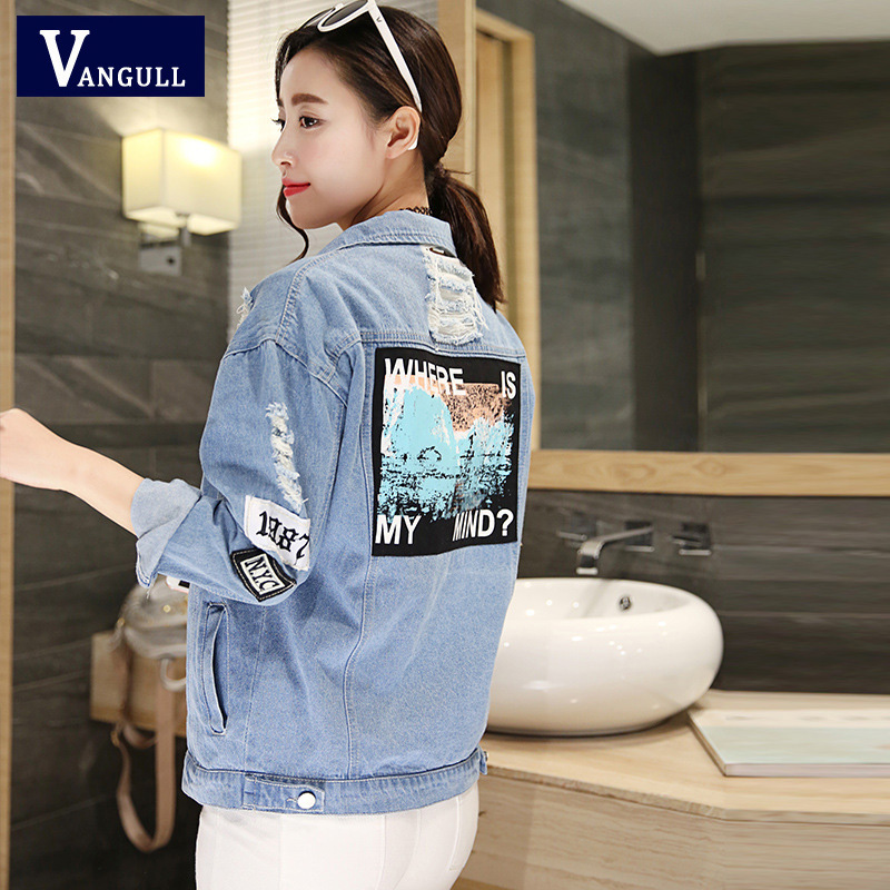 Vangull Where Is My Mind Women Print Bomber Jacket 2019 Spring Autumn Denim Jacket Jeans Coats and Jackets Women Casual Outwear